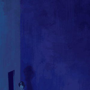 A digital painting in different shades of blue. A woman stands in the bottom left corner, holding herself in pain, facing an opening in an undecorated concrete wall.